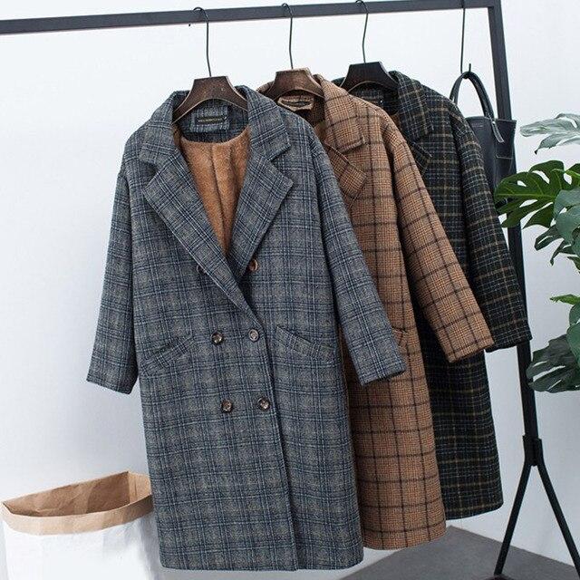 Плед шерстяной флис зубчатый для женщин куртка пальто длинные бархатные утепленные офисные женские туфли пальто 2018 осень зим