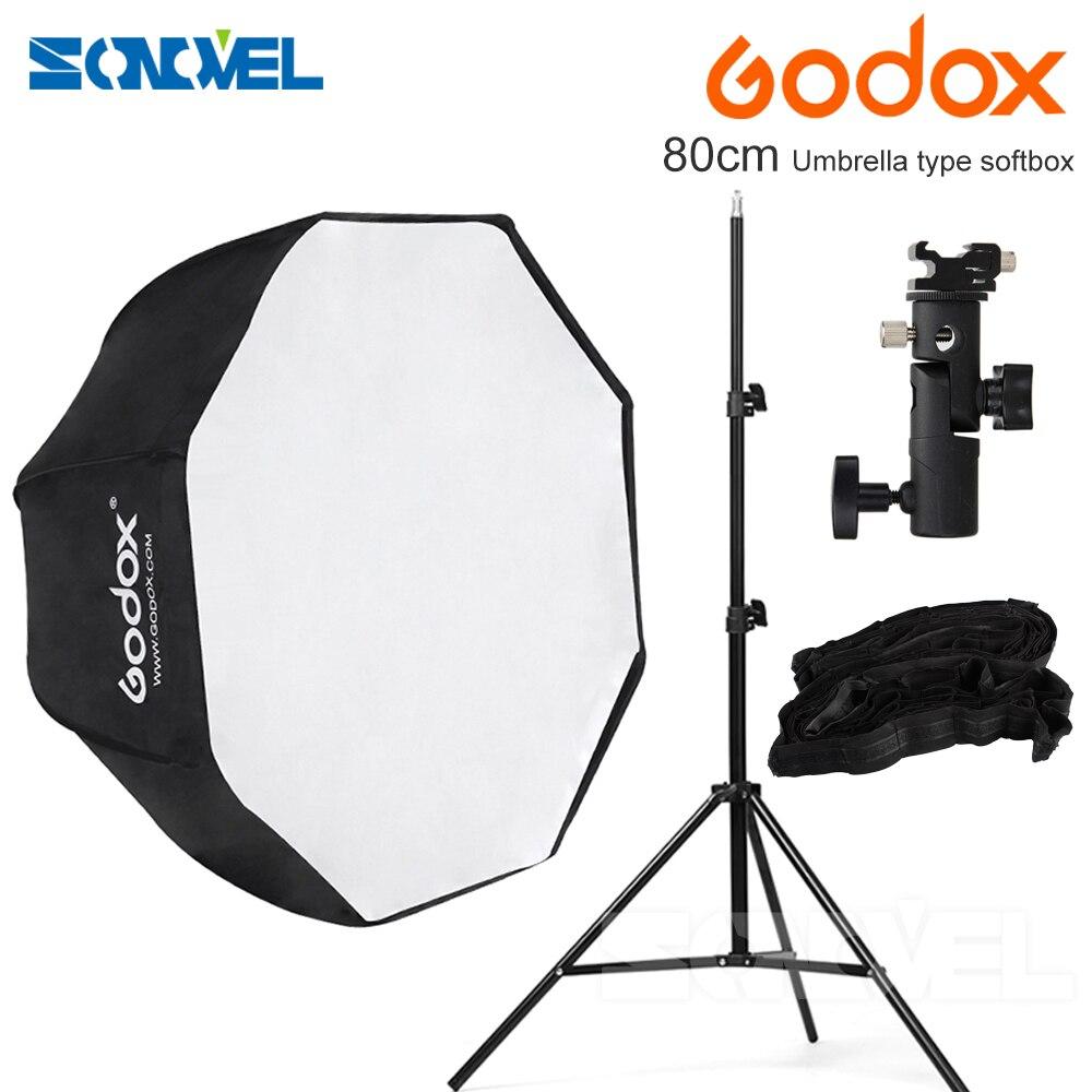 Godox 80 см/31.5in Octagon Софтбоксы зонтик Портативный софтб + Горячий башмак кронштейн + 2 м свет подставка + honeycomb сетки для Canon Nikon Вспышка