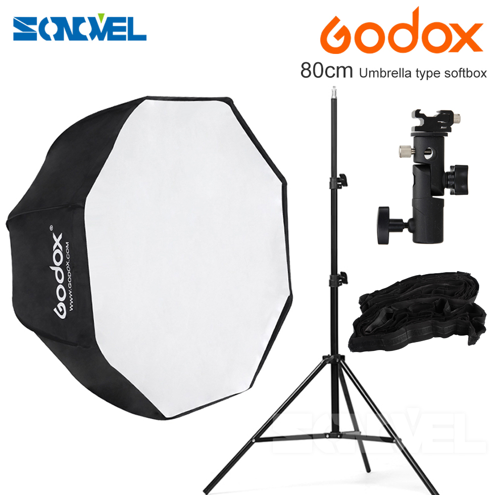 Godox 80cm/31.5in Octagon Softbox Umbrella Portable Softb+hot shoe bracket+2M light stand +honeycomb grid for Canon Nikon Flash