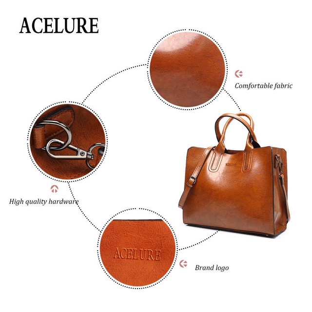 ACELURE Leather Handbags Big Women Bag High Quality Casual Female Bags Trunk Tote Spanish Brand Shoulder Bag Ladies Large Bolsos 2