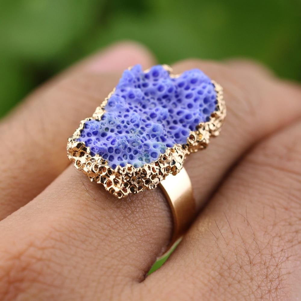 Rare Coral Reef Rings Natural Drusy Rings Aquarium Irregular Druzy Kay Ring  For Engagement Drop Ship