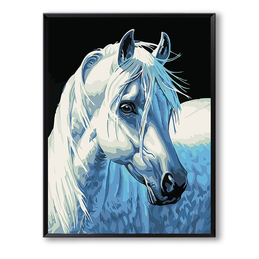 40x50cm digital oil painting by numbers diy home decoration paint on canvas unique gift craft picture white horse SZH-387