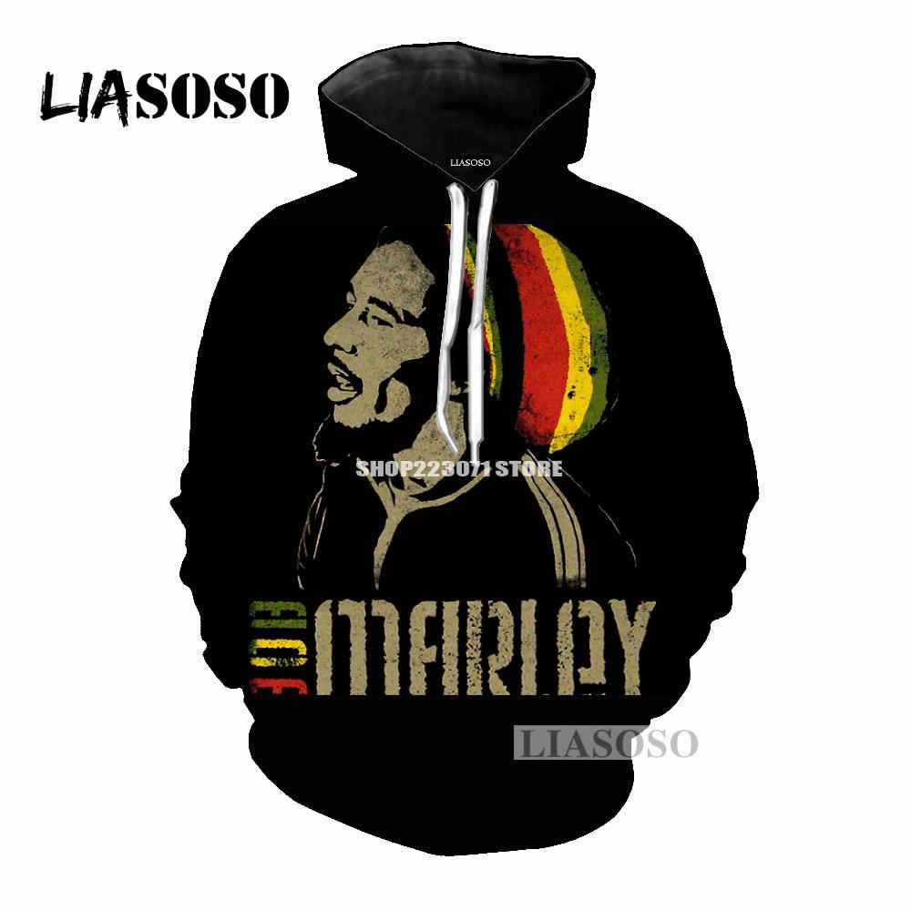 LIASOSO 2019 Latest Fashion Hoodie Men & Womens Hoodie Bob Marley 3D Print Men & Women Hoodie Fashion Brands Clothing   M043