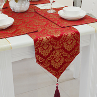 Fashion Amazing Chinese style red gold flowers table runner Lace Luxury Table flag