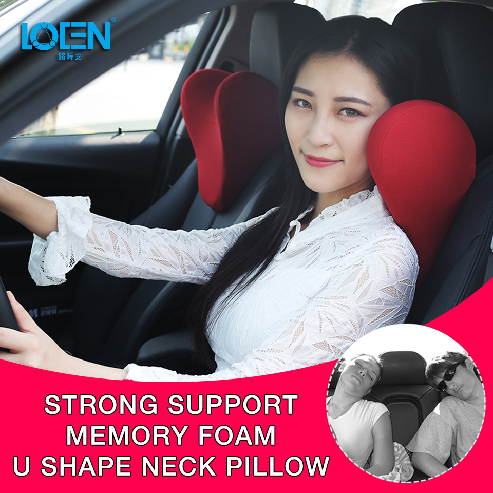 LOEN U Shape Memory Cotton Car Neck Pillow Headrest Memory Foam Fabric Car Seat Neck Support Pillow for Car Travel Office Home u miss functional inflatable neck pillow inflatable u shaped travel pillow car head neck rest air cushion for travel neck pillow