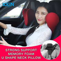 LOEN U Shape Memory Cotton Car Neck Pillow Headrest Memory Foam Fabric Car Seat Neck Support Pillow for Car Travel Office Home