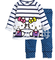 2014 new kids clothing set hello kitty girls long-sleeve t shirt pants kids pajama sets children clothes winter children hoodies