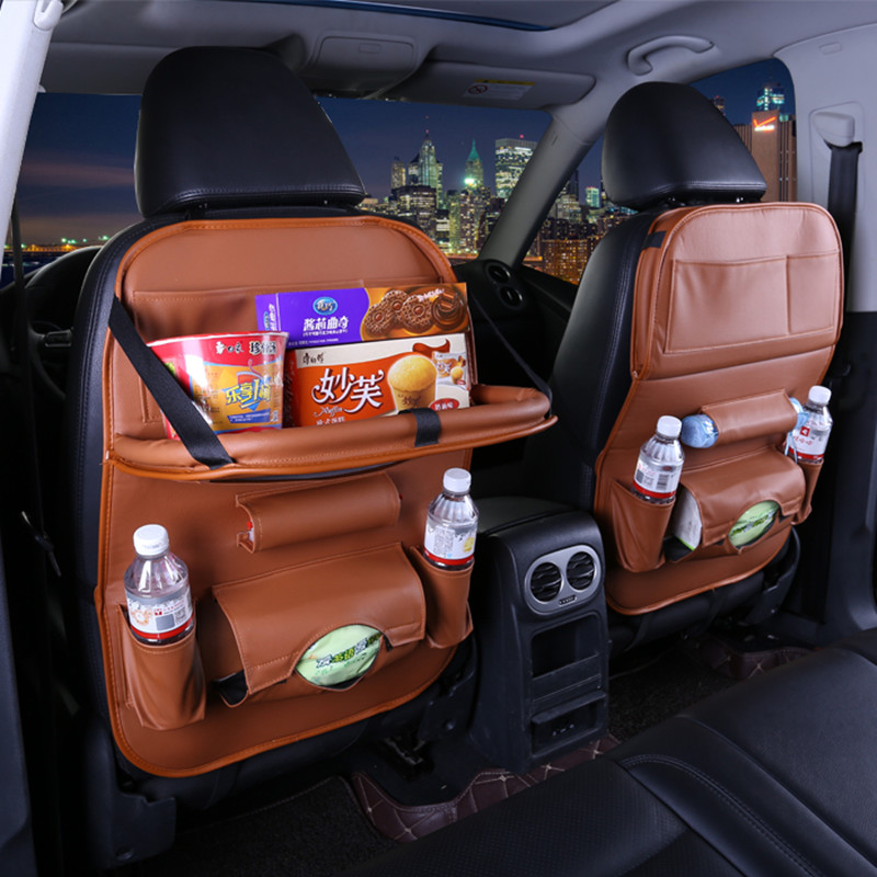 New Leather Car Seat Back Storage Bag Folding Hanging dining table bags for mazda cx-3 cx-9 cx9 cargo familia premacy tribute car seat back storage bag universal hanging multifunction anti dirty pad for mazda gg gh gj cx 9 cx9 demio cargo familia tribute