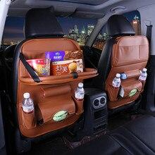 Новые кожаные заднем сиденье автомобиля сумка для хранения складной висит обеденный стол сумки для mazda CX-3 CX-9 cx9 брюки-карго familia premacy дань