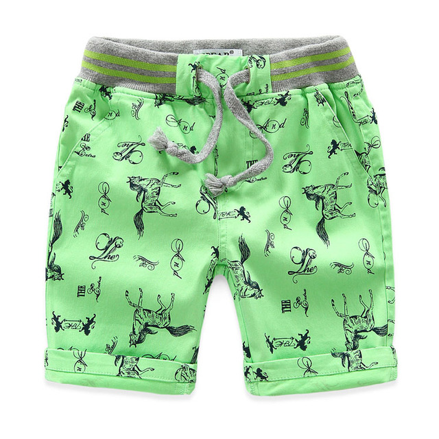 Boys' Loose Printed Cotton Shorts with Elastic Waist