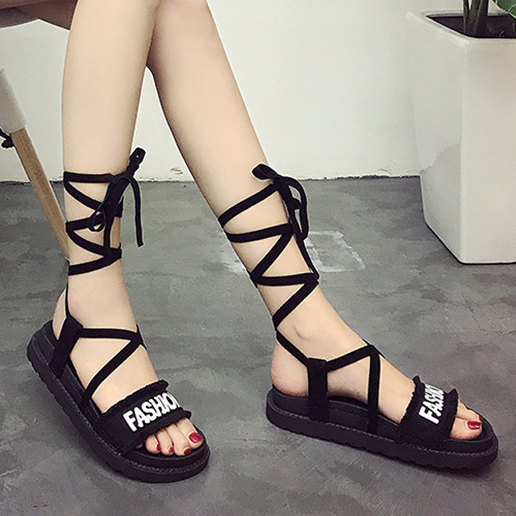 Roman Sandals Flat-Shoes Cross-Strap Open-Toe Female Casual Thick-Bottom Lace-Up Hot-Sale