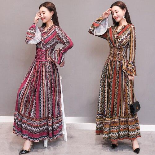 2018 automne longues robes plissées manches évasées Vintage Boho robe rayure Maxi robe Style ethnique Slim taille robes femmes