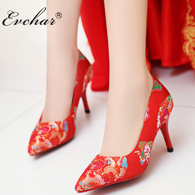 EVCHAR spring autumn shoes woman sexy Chinese style silk embroider wedding shoes high heels women bride slip-on pUmps size 33-40 siketu free shipping spring and autumn high heels shoes career sex women shoes wedding shoes patent leather style pumps g017