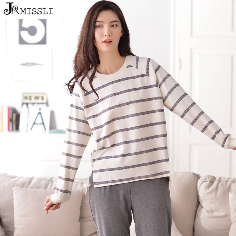 JRMISSLI Women Ladies Home Clothing Nightclothes Sets Long Sleeve 3XL Large Size Cartoon Warm Cotton Soft Pajama Plus Size Sleep
