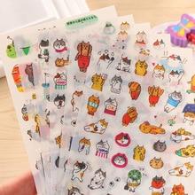 Nova Chegada gato dos desenhos animados emoji decoração diário adesivo Kawaii 6 pçs/set Criativo DIY conjunto bala revista pegajosa transparente