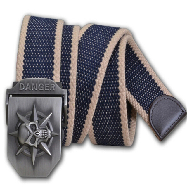 New Canvas Belt With Cool A Skull Shape Metal Buckle