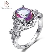 Bague Ringen New Genuine 925 Sterling Silver Rainbow Topaz Wedding Rings for Women Leaf Design Gemstone Ring Fine Jewelry Gifts