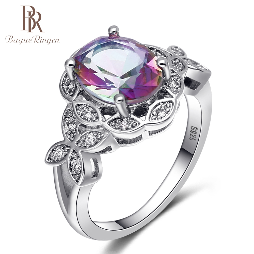 Bague Ringen New Genuine 925 Sterling Silver Rainbow Topaz Wedding Rings for Women Leaf Design Gemstone Ring Fine Jewelry Gifts