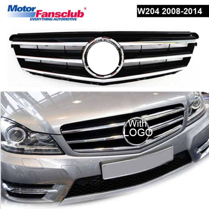 Sliver/Black Car Racing Grille For Mercedes Benz W204 Grill 2008-2014 C63 AMG C350 C250 Emblem Chrome Mesh Radiator Front Bumper 2010 2014 mercedes benz cls63 amg black weathertech cargo liners
