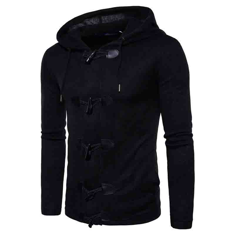 HOT 2020 autumn winter Men's horn with thicken big button cardigan mens long sleeve knit hooded fleece cardigan coat - 2