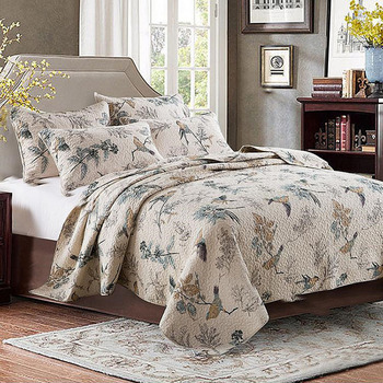 Quality Quilt Set 3pcs Washed Cotton Quilts Quilted Bedspread Bed Cover Sheets Bird Printed Coverlet Set King Size QT004