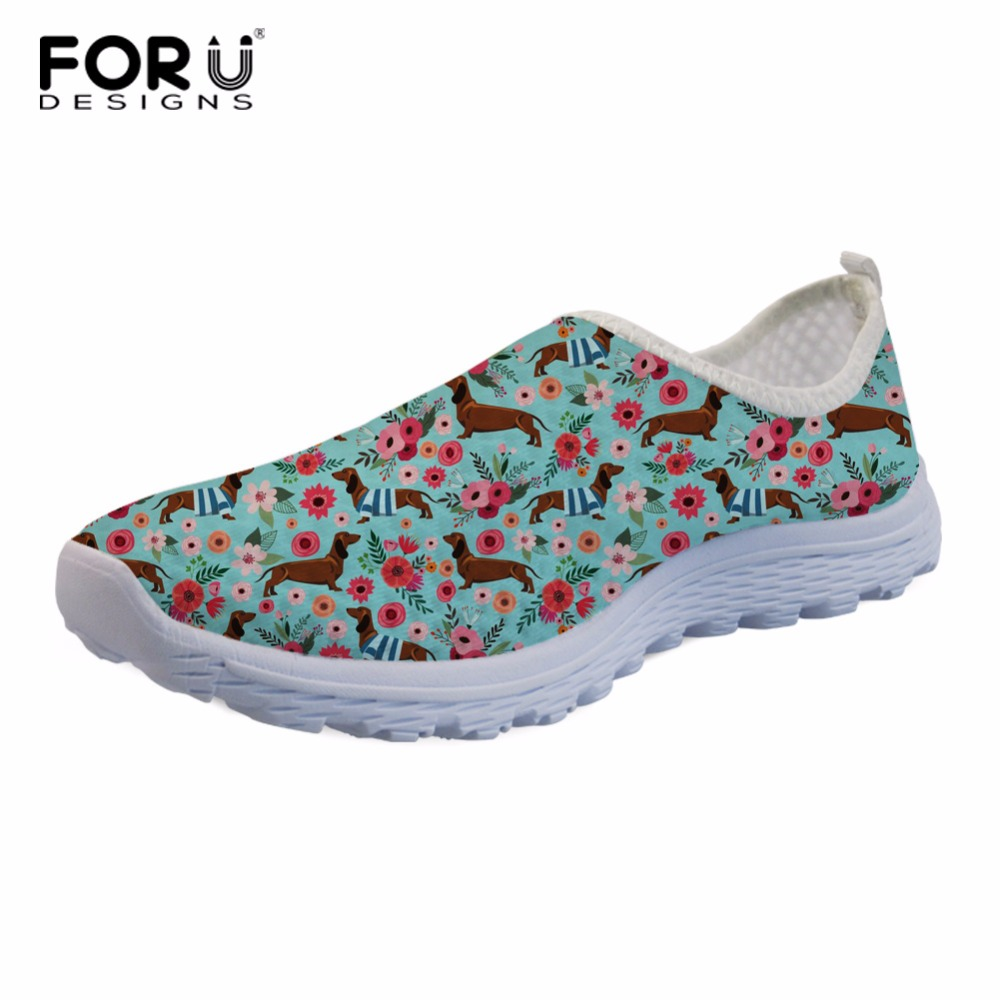 FORUDESIGNS Dachshund Flower Women Summer Mesh Flat Shoes Breathable Female Casual Light Weight Shoes Beach Loafers Slip-On Flat instantarts casual women summer flat shoes cute dog alaskan malamute flower print female air mesh shoes fashion slip on sneakers