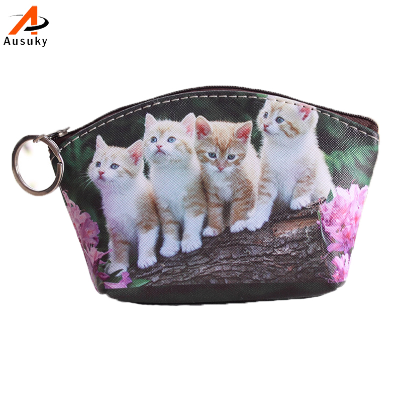 New Pu Leather Cat Coin Purse Cute Kids Cartoon Wallet Kawaii Bag Coin Pouch Children Purse Holder Women Coin Wallet 15
