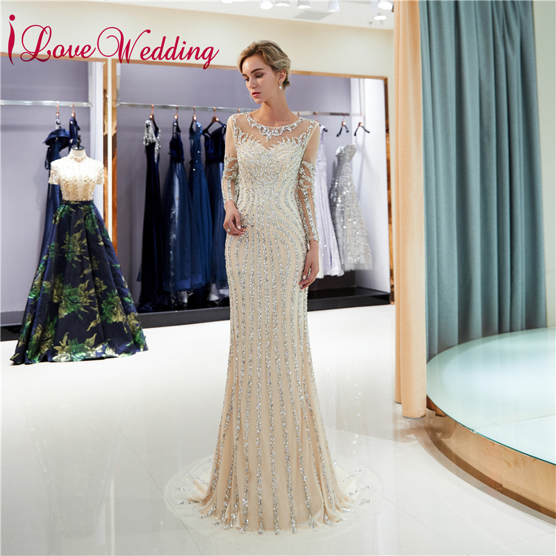 Formal Gown 2019 Luxury   Evening     Dresses   Sheer Neck Beaded Long Sleeves Custom made Trumpet Champagne Long Party Gown 72698