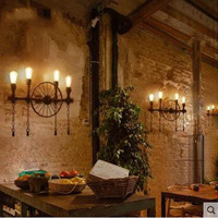 L Retro Cafe Industrial Wind Aisle Decorative Lighting American Restaurant Bar Personality Iron Water Pipe Wall Light