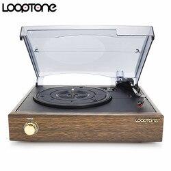 Gramófono clásico de 3 velocidades LoopTone, tocadiscos accionado por Correa, reproductor de discos LP de vinilo con 2 altavoces estéreo integrados
