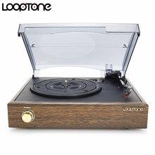 LoopTone 3 단 클래식 축음기 축음기 벨트 구동 턴테이블 비닐 LP 레코드 플레이어 W/ 2 내장 스테레오 스피커