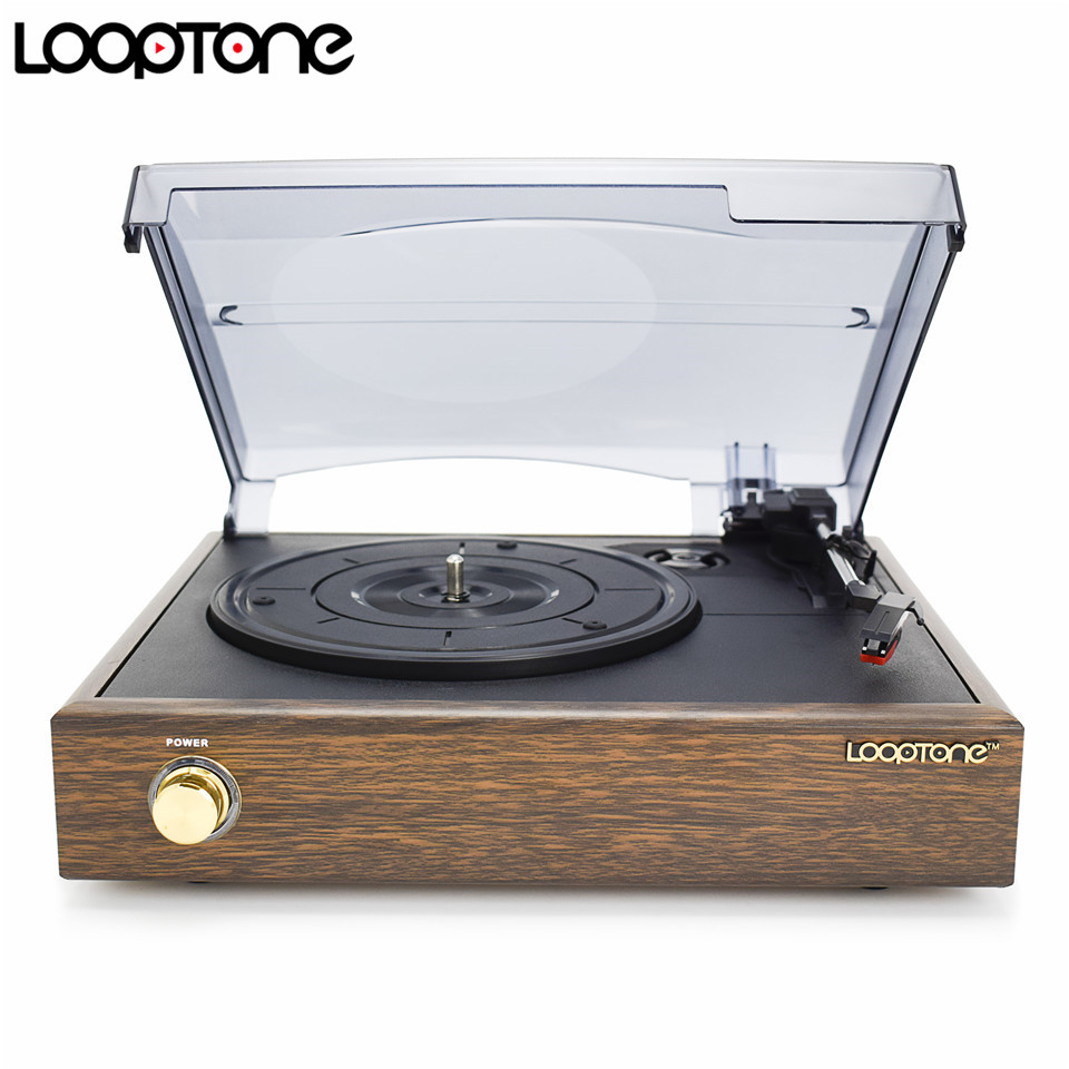 LoopTone 3-Speed ​​Classic Belt-Driven Turntable Vinyl LP Record Player W / 2 Inbyggda Högtalare RCA Line-out AC110 ~ 130V & 220 ~ 240V