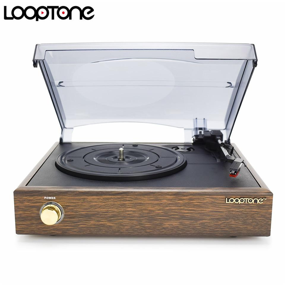 LoopTone 3-Speed Classic Phonograph Gramophone Belt-Driven Turntable Vinyl LP Record Player W/ 2 Built-in Stereo Speakers