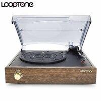 LoopTone 3 Speed Classic Belt Driven Turntable Vinyl LP Record Player W 2 Built In Speakers
