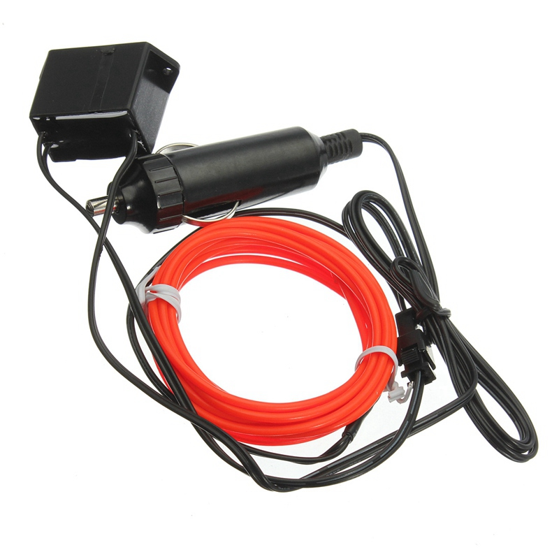 New Arrival 10 Colors Flexible For 3M EL Wire Rope Tube Neon Cold Light Glow Party Car Decoration With 12V Inverter