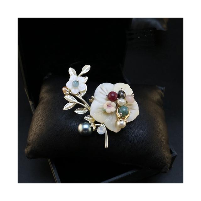 Shell flor broche para homens damas nunatak pin liga broche de pérolas pinos curtos outerwear mulheres broches jewlery