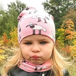 Outono inverno crianças meninas dos desenhos animados ovelhas impressão algodão chapéu aand cachecol conjunto padrão animal crianças bonés gorro do bebê