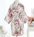 Vintage Ladies' Satin Short Nightgown Sleepwear Chinese Women Robe Dress Gown Vintage Kimono Yukata Lounge Nightwear Pajamas