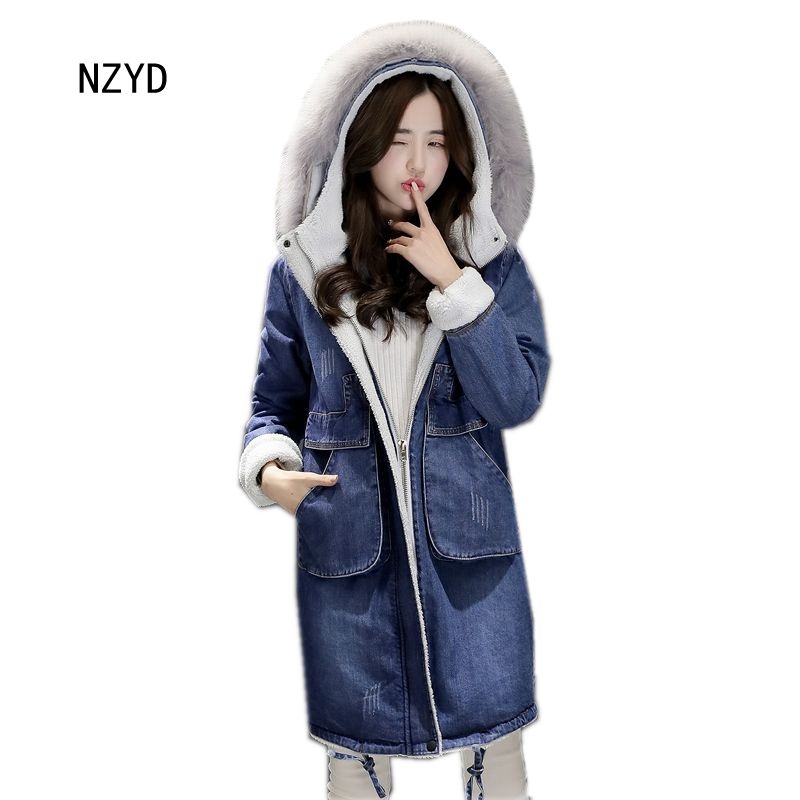 Women Winter Jeans Coat 2017 New Fashion Hooded Thick Super warm Medium long Parkas Long sleeve Loose Big yards Jacket LADIES209 women winter parkas 2017 new fashion hooded thick warm patchwork color short jacket long sleeve slim big yards coat ladies210