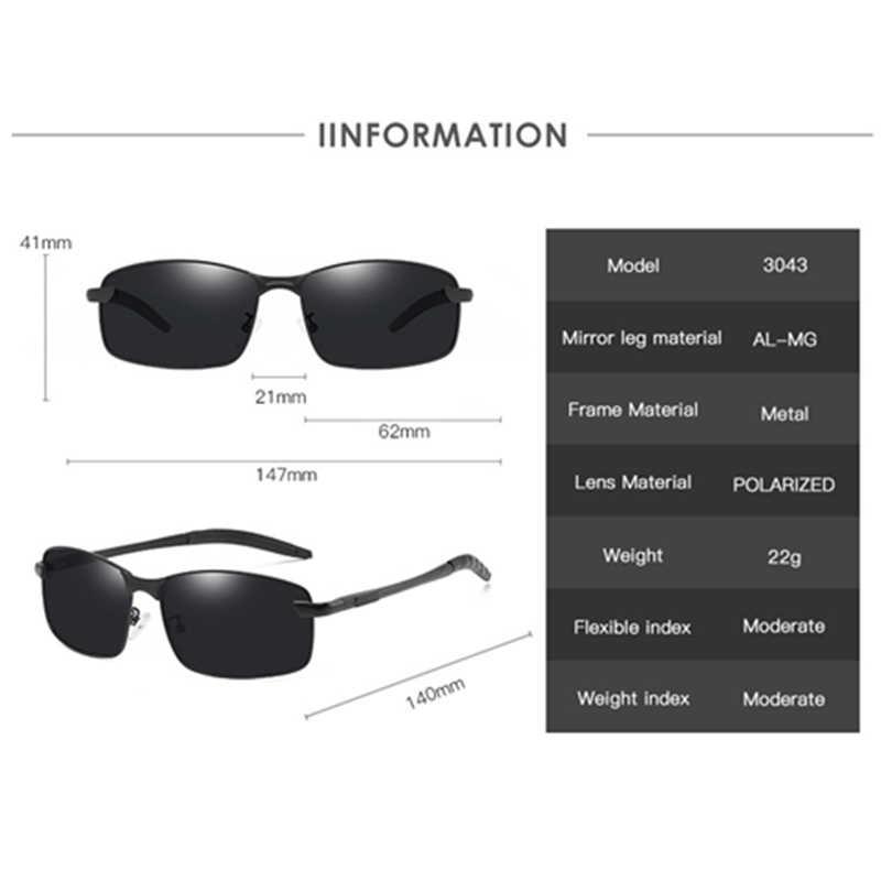 LEIDISEN поляризационные 2019 Al Mg Солнцезащитные очки Мужские UV400 водительские очки ночного видения классические брендовые дизайнерские модные солнцезащитные очки G3043