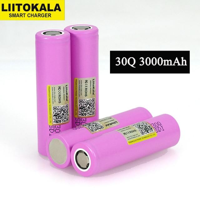 Liitokala 3.7V 18650 원래 ICR18650 전자 도구 배터리에 대 한 30Q 3000mAh 리튬 이온 충전식 배터리