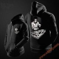 DJ freddo Bruce Lee Con Cappuccio Cerniera Felpe Con Cappuccio Uomini Ragazzi Nero XL Giacca Abbigliamento