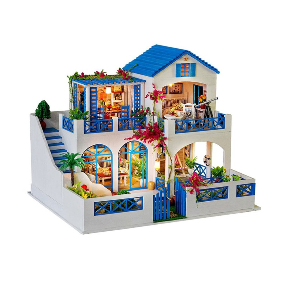 Big Villa Dollhouse DIY 3D Miniature Doll House Model Building Kits Wooden Furniture Toys Birthday Gifts Meteor Garden starz 3d wooden villa house puzzles toys static model wood craft building kits children gifts for kids