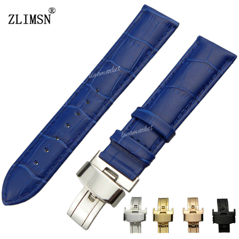 12mm~20mm Blue Crocodile Light Shine Men Women Italy Genuine Leather Watch Bands Strap Watchbands Belt Metal Buckles H08