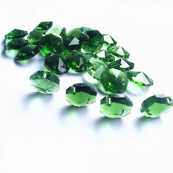 1000pcs 14mm Crystal Octagon Beads in 2holes (free1000 rings) Crystal Glass Wedding Decoration Curtain Green Beads Free Shipping