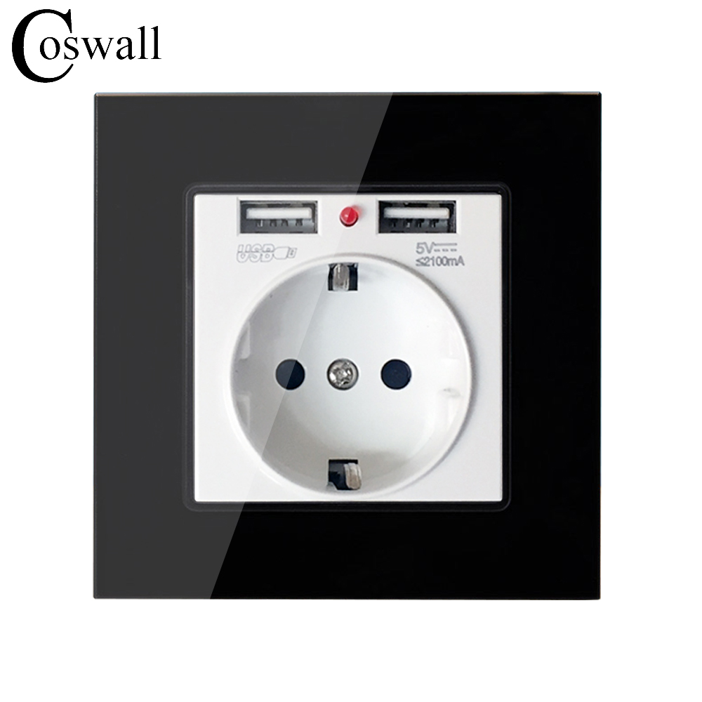 Coswall Crystal Glass Panel Dual USB Charging Port 2.1A Wall Charger Adapter 16A EU Socket Power Outlet Black Color