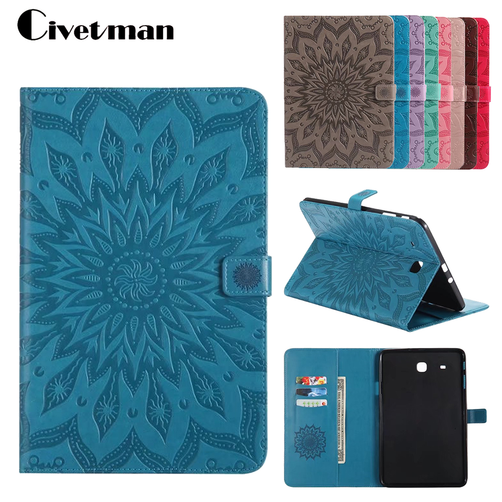 Tab E T560 Flip PU Leather Case Cover Stand Embossing Case Stand For SAMSUNG Galaxy Tab E 9.6 SM T560 T565 SM-T561 Case Shell yh printed flip stand skull cute owi leopard pu leather cover case for samsung galaxy tab e 9 6 inch tablet t560 t561 sm t560