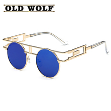 2016 Retro Round Metal Frame Sunglasses Steam Punk Vintage Hip Hop Brand Luxury Designer Gianni Versa de For Women Men oculos