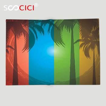 Custom Soft Fleece Throw Blanket Grunge Palm Trees Silhouette on Colorful Vertical Stripes Sunbeams Tropical Boho Style Art Red