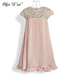 Image 2 - Women Brand Design Vestidos Elegant Party Casual Vintage Apricot Short Sleeve Lace Pleated Ruffled Chiffon Dress for Wedding